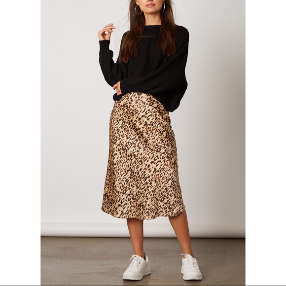 fine craftsmanship new high enjoy free shipping Cheetah Print Satin Midi Skirt